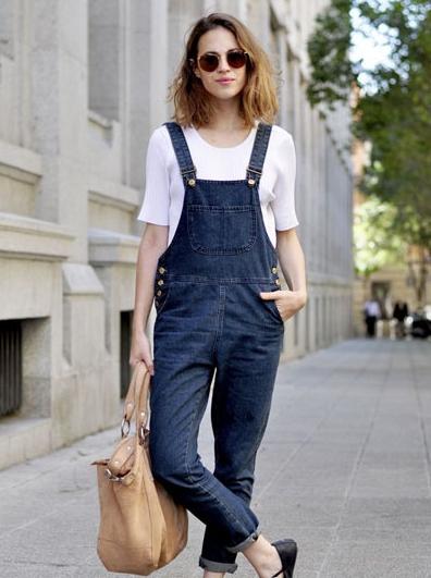 复古蓝色背带裤